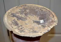 A large & affordable Ancient Greek pedestalled platter,  impressed radial design (Repaired) SOLD